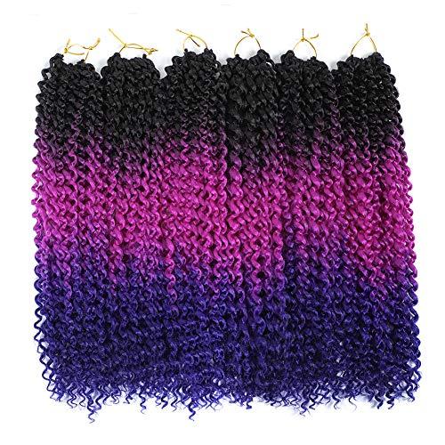 6Pcs Passion Twist Crochet Hair Ombre Crochet Passion Twist Braiding Hair 18Inch Water Wave Crochet Braids for Long Passion Twist (Black Blue Violet) (Best Color To Ombre Black Hair)