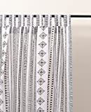 VLiving Black and white curtain, cabana print, cotton voile, printed curtain, Sheer Drape, sizes available (52x63)