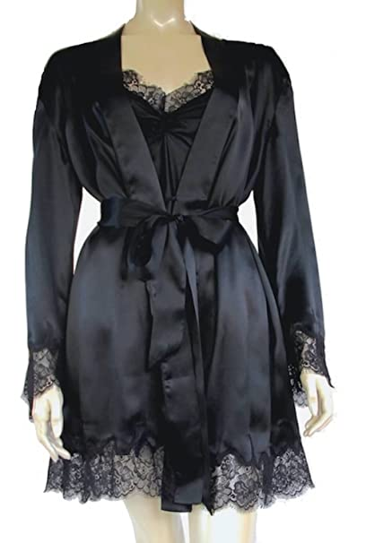 Silkmood Mujer Pijama Kimono de Seda Encaje Camisón de Seda Bata de Seda 100% Ropa de Dormir, Negro L: Amazon.es: Ropa y accesorios