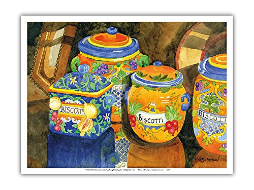 Biscotti Jars - Tuscany Italy - Italian Almond Cookies - from an Original Watercolor Painting by Robin Wethe Altman - Master Art Print - 9in x 12in