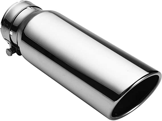 """3/"""" Inlet 4/"""" Outlet 12/"""" inch Long Diesel Exhaust Tip Tail Pipe Stainless Steel"""
