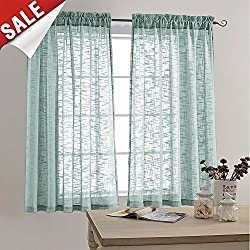 Faux Linen Textured Sheer Curtains Rod Pocket Sheer Curtain for Bedroom 63 inches Long Living Room Window Curtain Panel (1 Pair, Blue Haze)