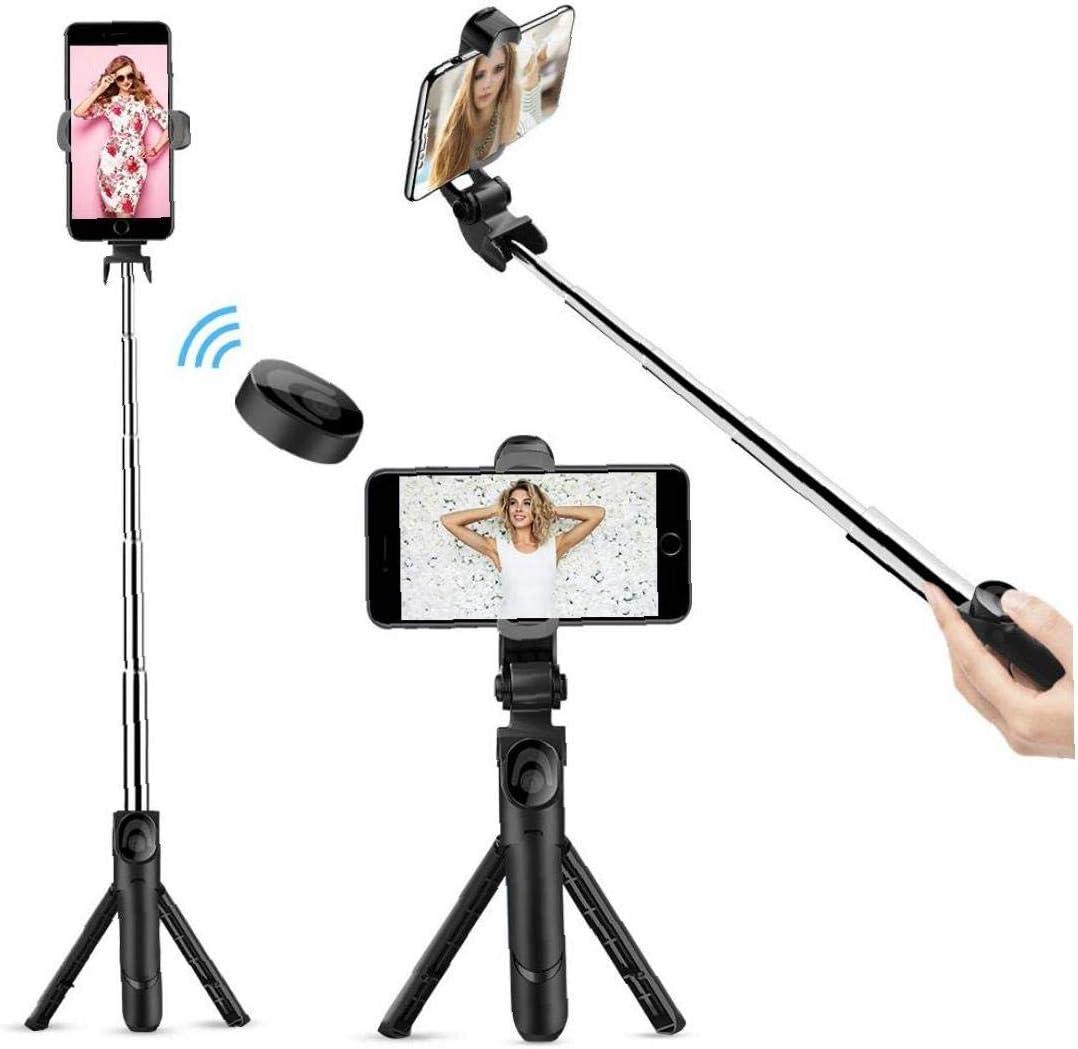 LAANCOO Selfie Bluetooth Memory Stick Bluetooth Selfie Extendable Stick Tr/épied avec t/él/écommande sans Fil Amovible et Tr/épied pour Voyage Compatible avec liPhone//Samsung//Huawei Plus
