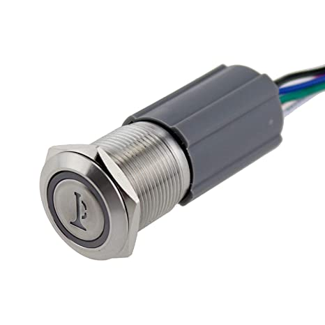 16mm Momentary Metal Switch Car Boat LED IP67 Waterproof 12V Horn Push Button