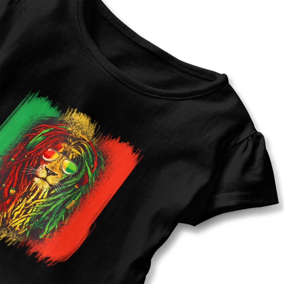 Clarissa Bertha Reggae Rasta Flag Lion Toddler Baby Girls Short Sleeve Ruffle T-Shirt