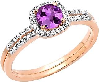 Dazzlingrock Collection pour femme 10K Or rose ronde 5mm améthyste et de mariage de diamant Halo Bague de fiançailles Ensemble de 5.5 DR8216-3887-10KR-5.5