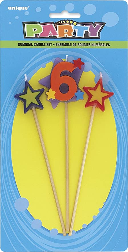 3pc Stars /& Number 3 Birthday Candle Set