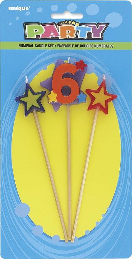 Unique Party- Conjunto de 3 velas de cumpleaños con forma de estrella, número 6 (34046)