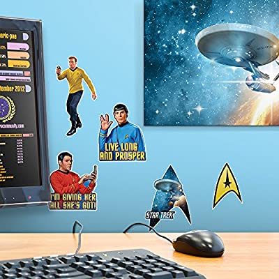 Popfunk Star Trek Collectible Stickers with Captain Kirk, Spock, Scotty, The Command Delta Shield: Home & Kitchen