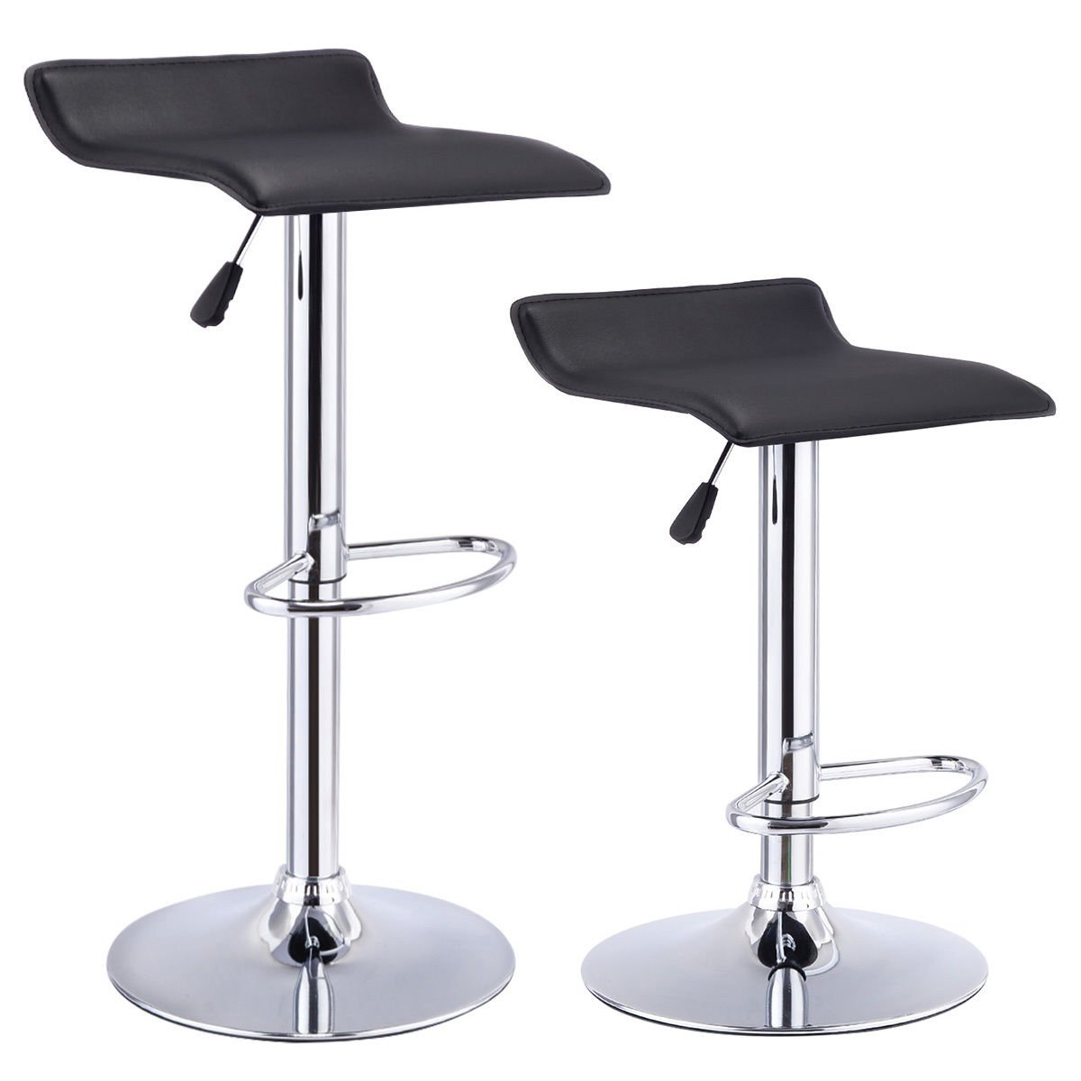 Amazon.com Costway Set Of 2 Swivel Bar Stools Adjustable PU Leather Backless Dining Chair (Black) Kitchen u0026 Dining  sc 1 st  Amazon.com & Amazon.com: Costway Set Of 2 Swivel Bar Stools Adjustable PU ... islam-shia.org