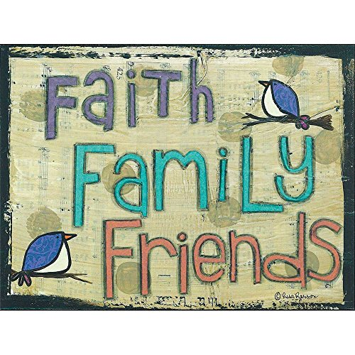Dicksons Faith Family Friends Artistic Birds Sheet Music 12 x 16 Wood Wall Sign Plaque