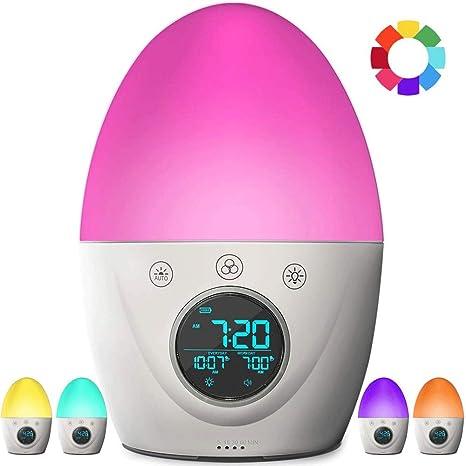 VSousT Reloj con Alarma para niños, Reloj con luz Ambiental ...