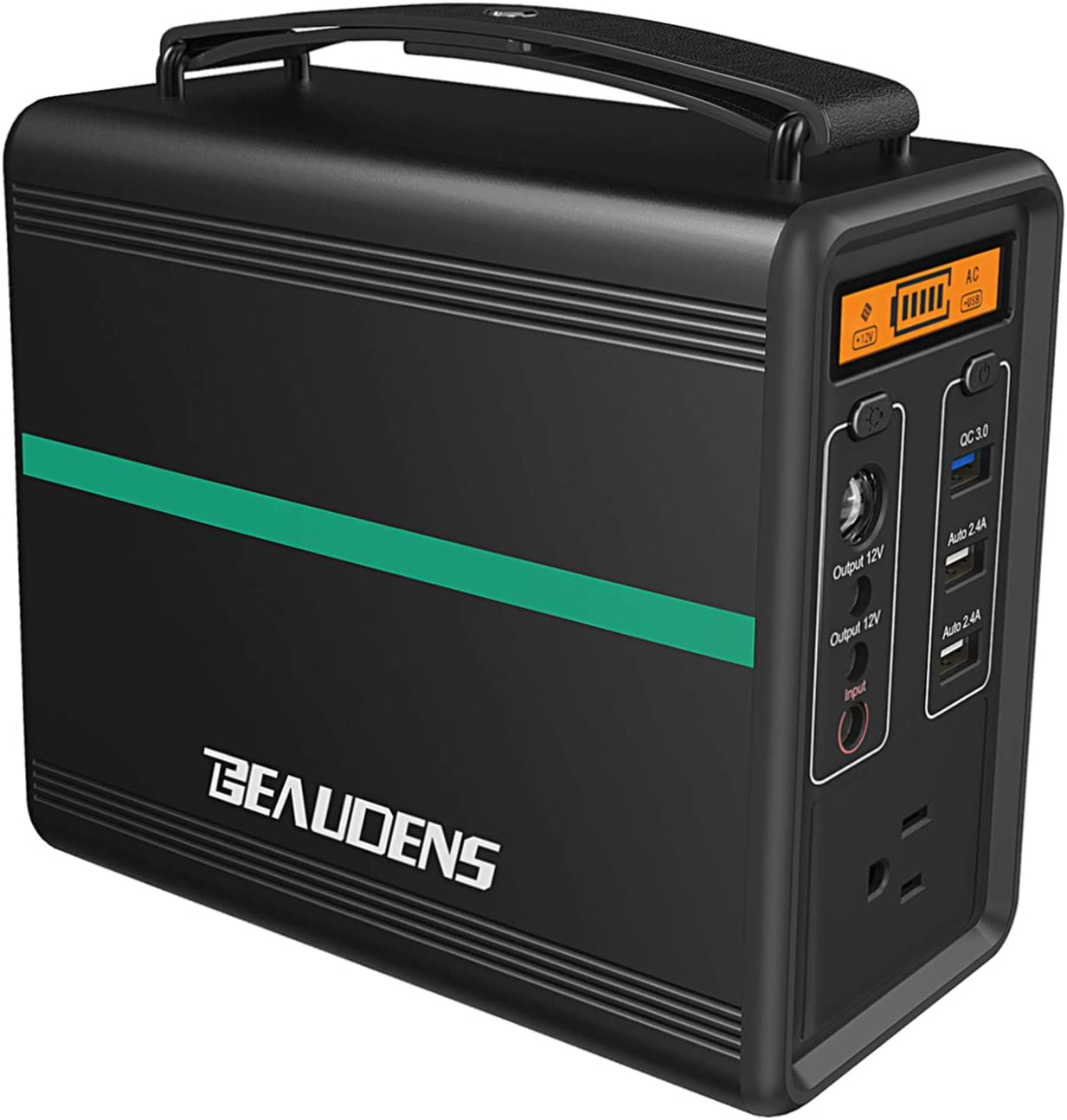 BEAUDENS Portable Power Station, Lithium Iron Phosphate Battery, 2000 Cycles, 10 Years Life, 166Wh 110V 150W AC Outlet, Solar Generator for Outdoors Camping Travel Fishing Emergency Backup