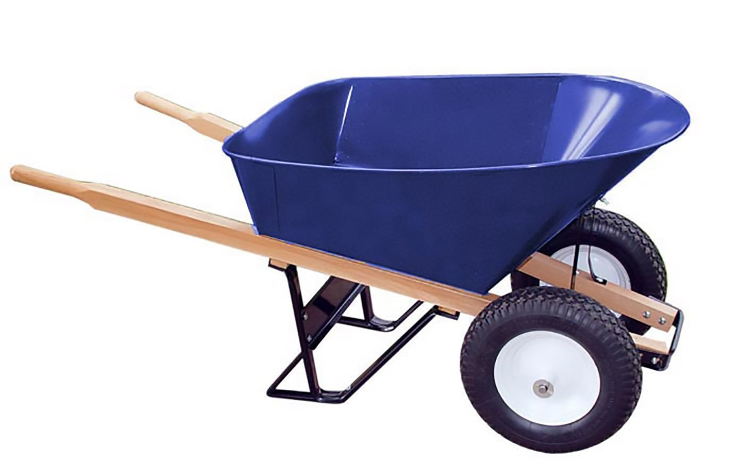 Bon 28 703 Premium Contractor Grade Steel Double Wheel Wheelbarrow with Wood Handle and Ribbed Tire, 6 Cubic Feet