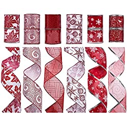 "SANNO Christmas Ribbon 12 Rolls Assorted Glitter Ribbon Tulle Organza Decorations Wired Edge Ornaments Ribbons 36 Yards (2.5"" Wide x 3 Yard Each) -Red / White"