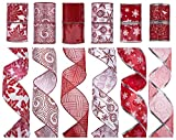 """Arts & Crafts : SANNO 12 Rolls Holiday Christmas Ribbon, Assorted Glitter Ribbon Tulle Organza Decorations Wired Edge Ornaments Ribbons 36 Yards (2.5"""" Wide x 3 Yard Each) -Red / White"""