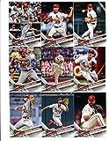 2017 Topps St. Louis Cardinals Complete Master Team Set of 33 Cards (Series 1, 2, Update): Brandon Moss(#89), Michael Wacha(#99), Alex Reyes(#103), Randal Grichuk(#132), Tommy Pham(#158), Jaime Garcia(#176), Adam Wainwright(#221), Luke Weaver(#234), Matt Adams(#258), Stephen Piscotty(#260), Aledmys Diaz(#293), Zach Duke(#307), Matt Carpenter(#359), Jhonny Peralta(#368), St. Louis Cardinals(#370), Yadier Molina(#373), Trevor Rosenthal(#437), Dexter Fowler(#446), Jose Martinez(#448), plus more
