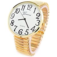 Gold Super Large Face Stretch Band Fashion Watch
