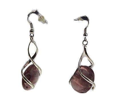 beaucoup à la mode prix pas cher gamme complète d'articles Boucles d'oreilles spirale galet - violet améthyste- Bijoux ...