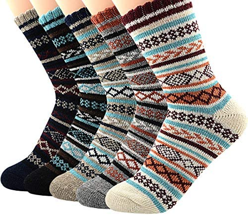 Zando Womens Wool Socks Winter Athletic Socks Crew Sock Warm Hiking Merino Wool Socks Soft Thick Mid Calf
