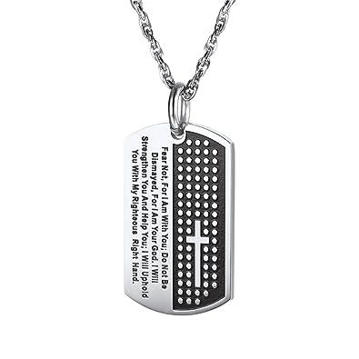 3c3f0108ac0 PROSTEEL Collier Homme Croix Chaîne et Pendentif Plaque Militaire avec  Gravure Verset de Bible Bijoux Acier
