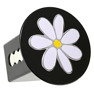 "LFPartS Plumeria Flower 3D Chrome Emblem Metal Trailer Hitch Cover Fits 2"" Receivers (Chrome on Black Round): Automotive"