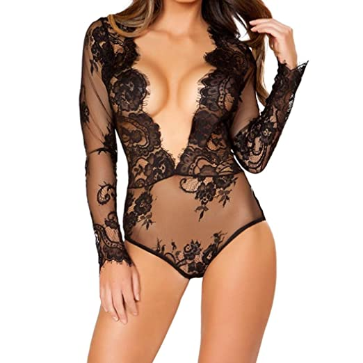 b8ce8113bc5 Amazon.com  Clearance Sale! Women s Sexy Lingerie E-Scenery Lace Eyelash Lingerie  Babydoll Set Underwear Sleepwear  Clothing
