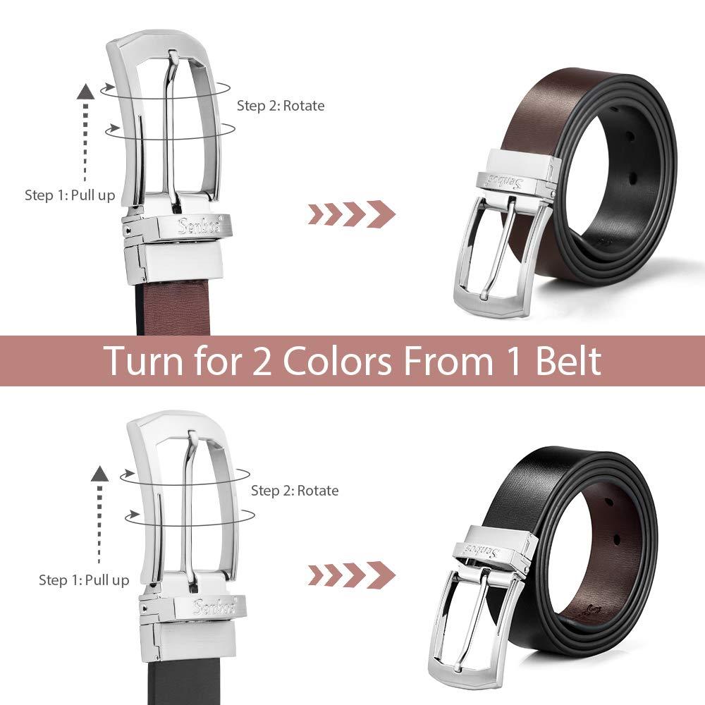 Senbos Mens Belt Leather Belt for Men Reversible Genuine Mens Dress Belt with Rotated Buckle 3.5CM Wide Black//Brown