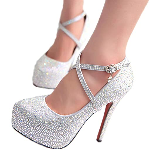 Image Unavailable. Image not available for. Color  High Heels Crystal Ankle  Strap Platform High Heels Shoes Women Pumps Ladies Wedding ... 98ddfdbe4c8a