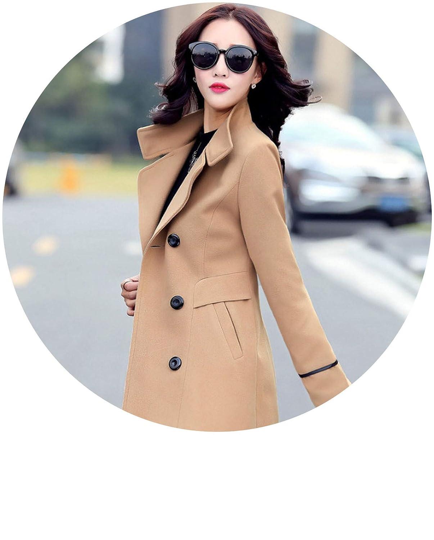 Khaki Blends Woolens Overcoat Female Coat Winter Coats and Jackets Women Plus Size Coat