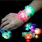 Flybuild® 10pcs Kids Toy Flashing Light LED Wristband Adjustable Glow Bracelet Party Gift Bag Filler Fun Toys, Random Colour and Pattern