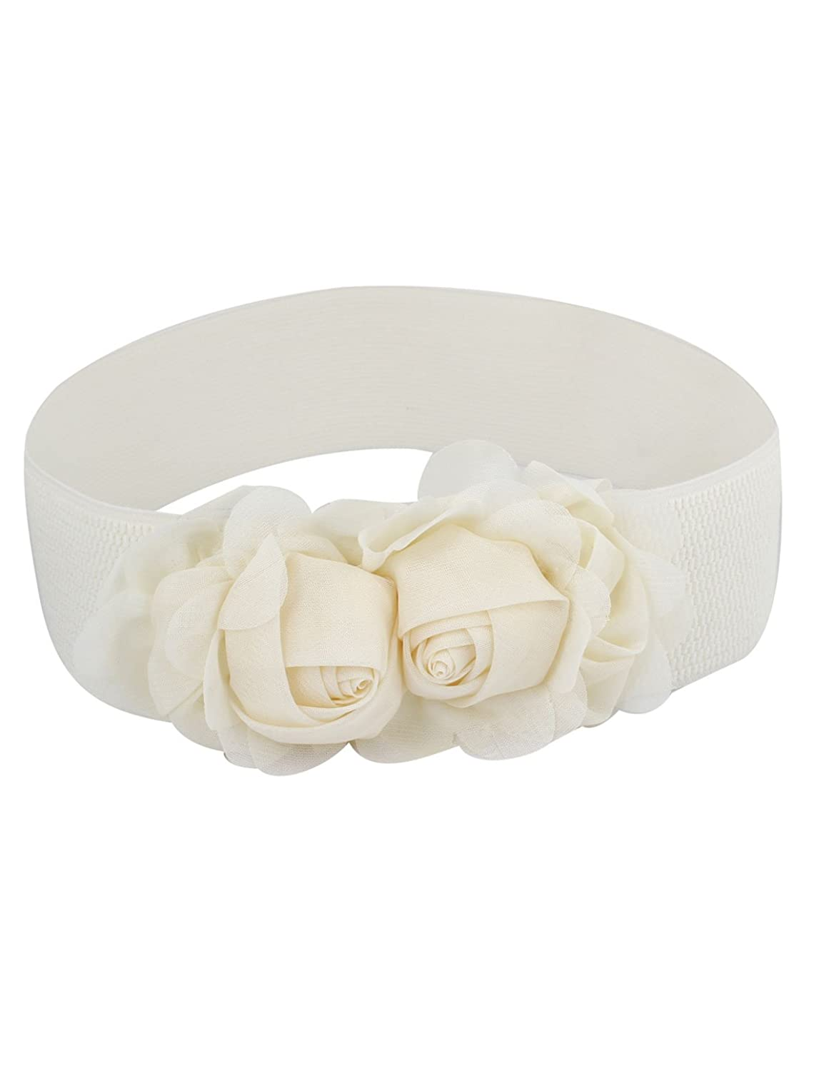 Woman Double Flower Decor Press Button Buckle Stretch Waist Belt