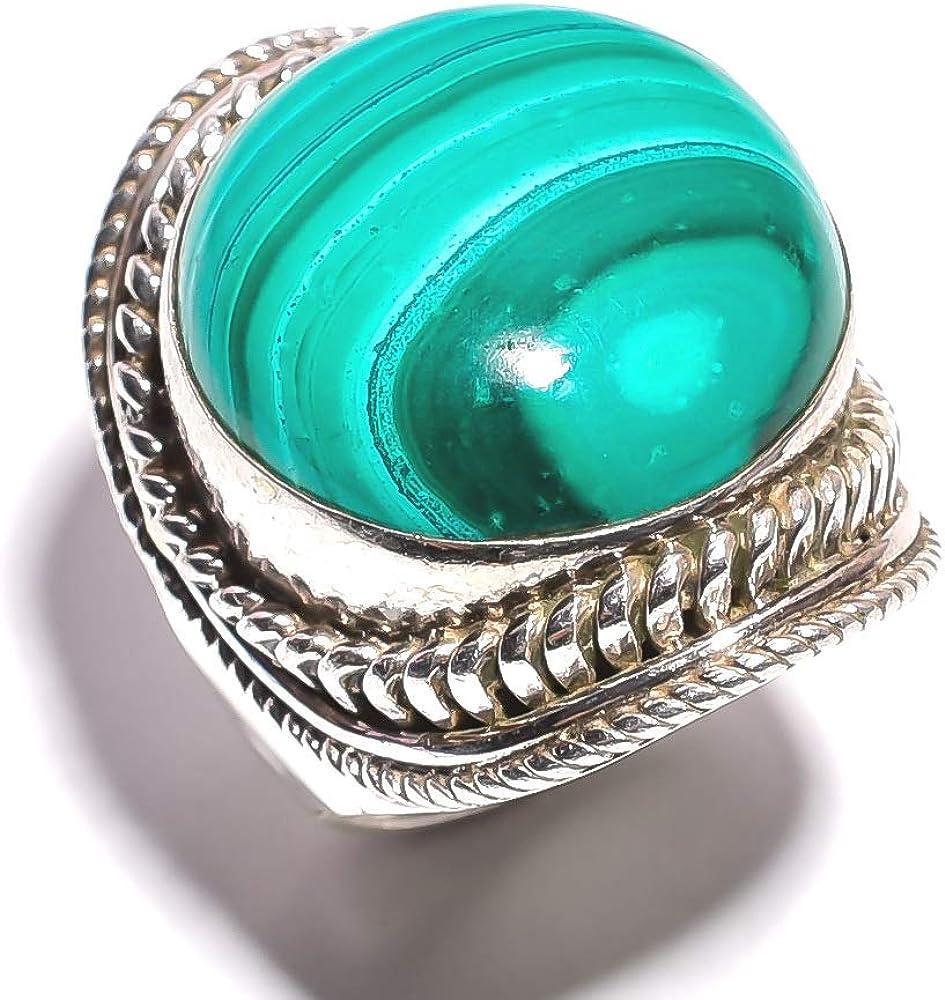 mughal gems & jewellery - Anillo de Plata de Ley 925 con Piedra de malaquita Natural (tamaño 7.5 U.S)
