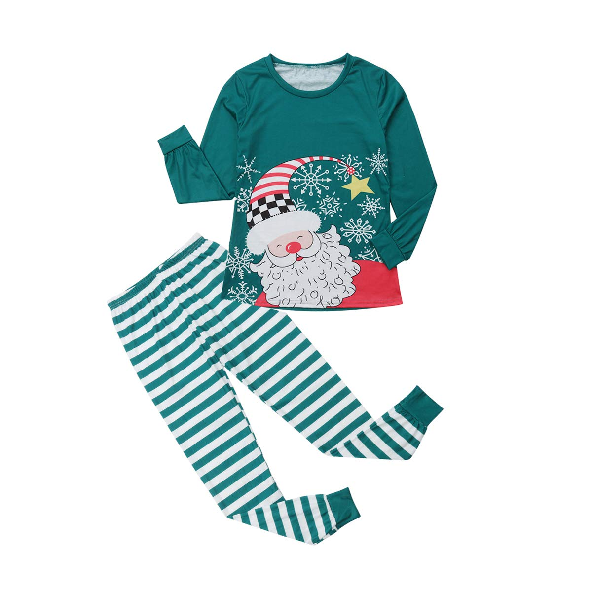 Christmas Pajamas Sets for Family Santa Claus Print Long Sleeve Top Stripe Pants 2Pcs Sleepwear Sets