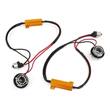FEZZ LED Coche Bombilla Resistencia S25 1156 BAU15S 50W 8 Ohm Canbus Decodificador Adaptador Cableado Advertencia