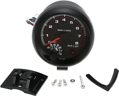 KKmoon 3.75 Pollici Contagiri Auto Universale Nero Luce Bianca Inter Shift 0-8000 RPM