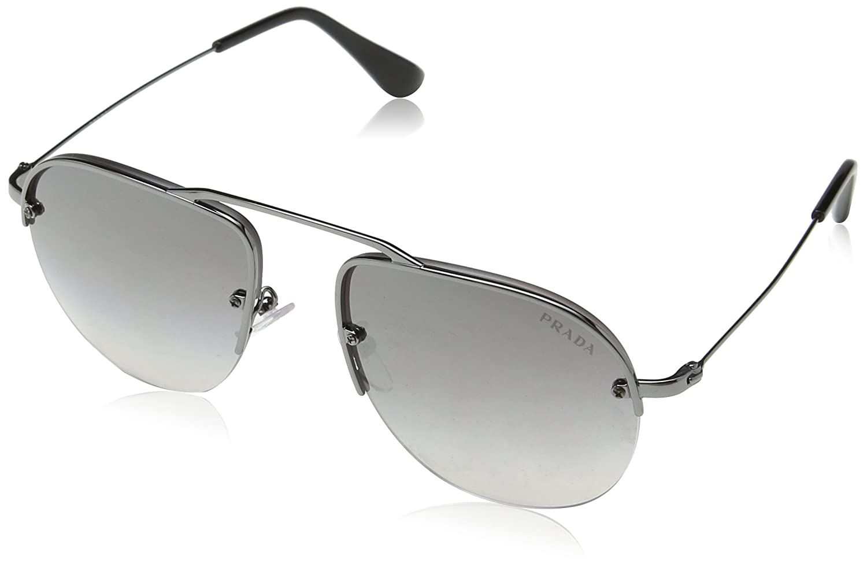 54b6287ec5a5 Amazon.com: Prada Women's Brow Bar Sunglasses, Gunmetal/Grey Silver, One  Size: Prada: Clothing