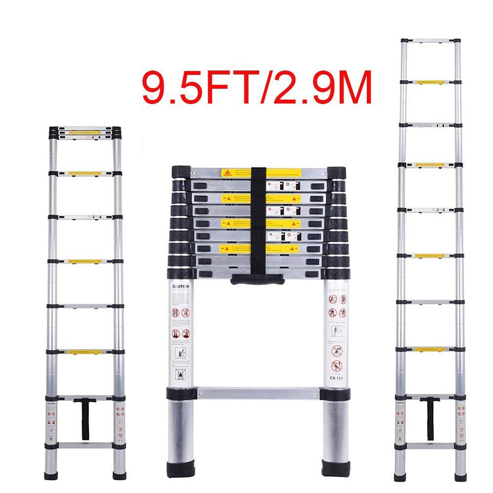 Telescopic Ladder Jason 9.5FT | 2.9M High Quality Max load 330lbs Aluminum Ladder Extendable Ladder With EN131 and CE Standard [Step A +++](9.5FT/2.9M) Shenzhen Shun Feng Trading Co.Ltd.