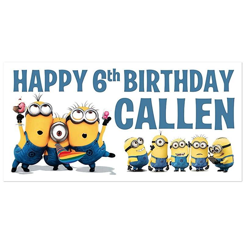 Despicable Me Minions Blue with Confetti Birthday Banner Personalized Party Decoration Backdrop