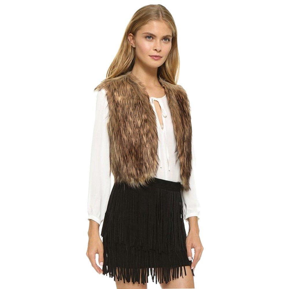 Lmx+3f Women Lady Vest Sleeveless Brown Coat Outerwear Long Hair Jacket Waistcoat Loose Soft Comfy Overcoats