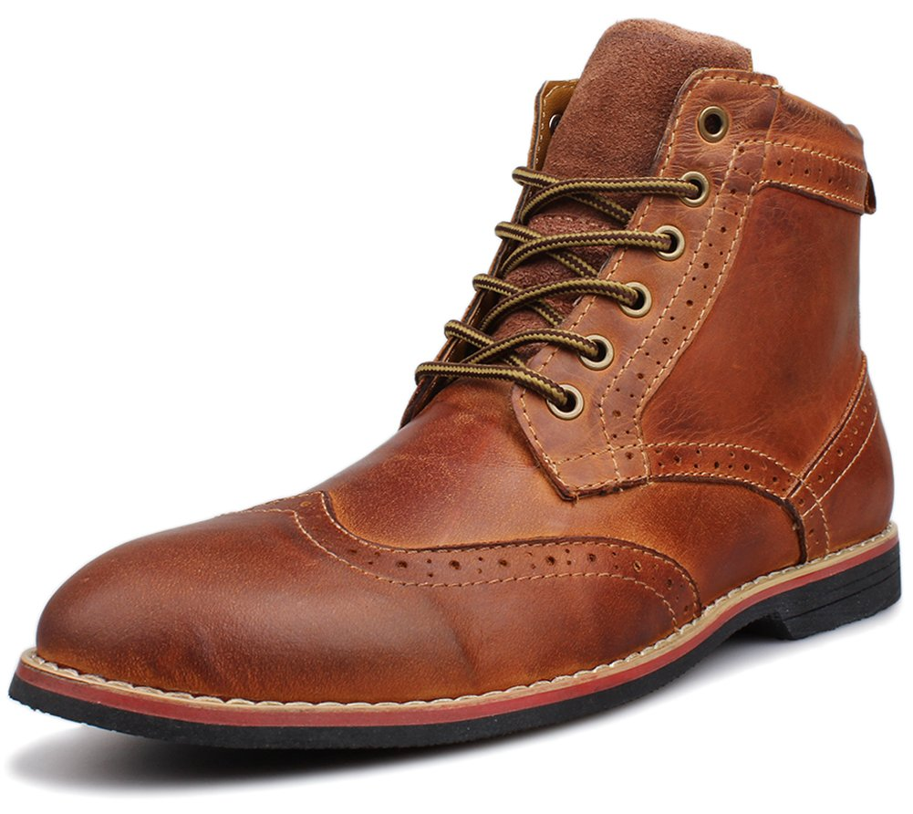 Kunsto Men's Leather Classic Brogue Boots Lace up US Size 10 Brown