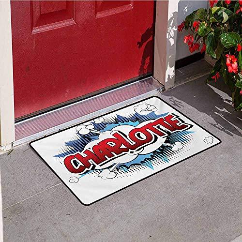 (Jinguizi Charlotte Universal Door mat Female Name with French Origins in Retro Cartoon Design Explosion Effect and Dots Door mat Floor Decoration W35.4 x L47.2 Inch Multicolor )