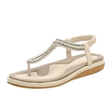 4ec857ff478f Women Low Heel Wedges Sandals Lightweight Soft Bottom Bohemian Beach Flip  Flops Casual Knit Elastic Band