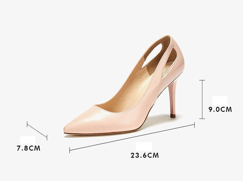 Ximu New New New Fashion Tip Hollow Stiletto Scarpe Da Sposa Sandali Femminili Pompe Comode,Black-34 36e2ee