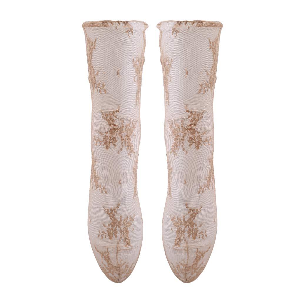 Meoliny Simple Ultra Thin Mesh Stocks Fashion Sexy Anklet Socks Fishnet Stockings for Women,Khaki