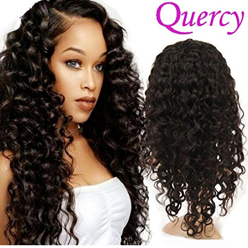 Quercy Hair Deep Wave Lace Front Wigs-Glueless Indian Remy Human Hair Natural Deep Wave Lace Wigs with Baby Hair for Black Women (22inch) (Indian Remy Hair Wigs)