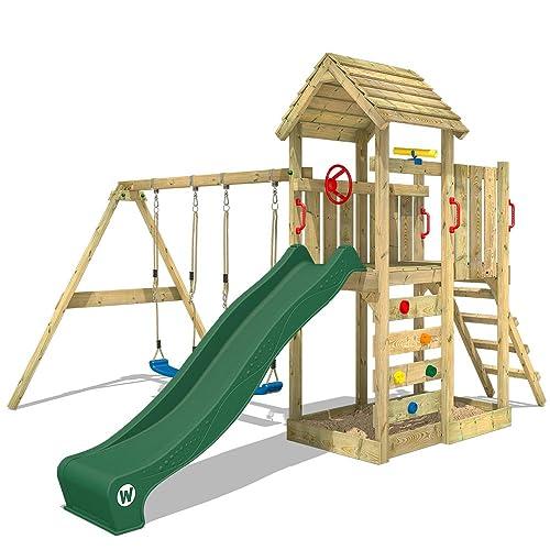 WICKEY Aire de jeux MultiFlyer Portique de jeux avec toit en bois pour jardin Tour de jeux avec balançoire et toboggan, mur d'escalade, toboggan vert