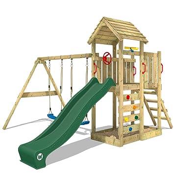 Wickey Parco Giochi In Legno Multiflyer Giochi Da Giardino Verde Con Altalena E Scivolo Torre Di Arrampicata Da Esterno Con Sabbiera Per Bambini