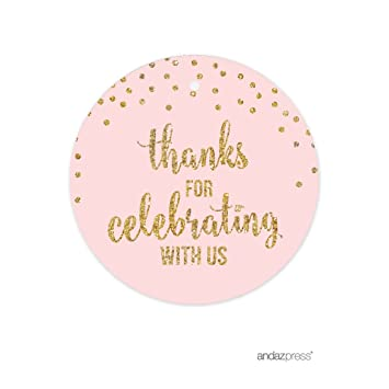Andaz Press Blush Pink Gold Glitter Girls 1st Birthday Party Collection Round Circle Gift Tags