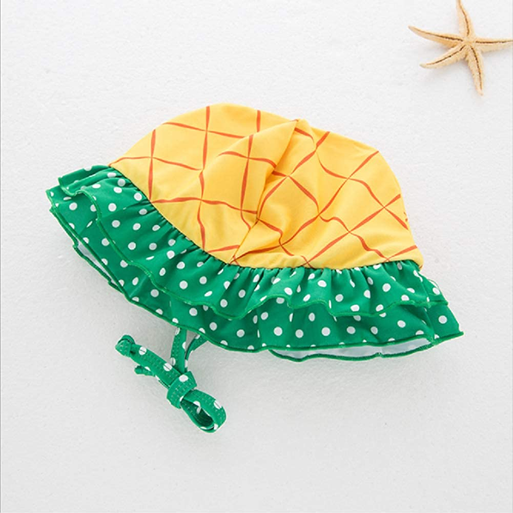 Baby Halter Two-Pieces Bikini Set with Hat Tankini Swimsuits Girls Cute Pineapple Bathing Suits